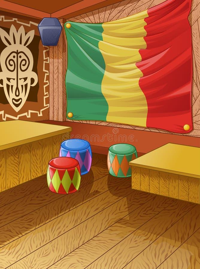 De vector houten club van Jamaïca is kleurrijk royalty-vrije illustratie
