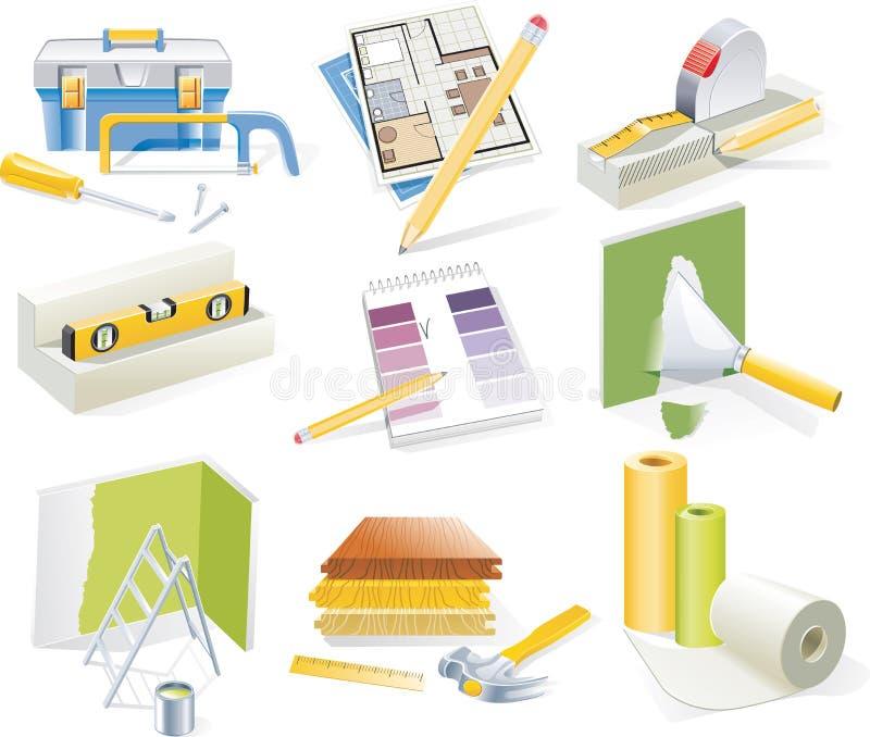 De vector huisvernieuwing en reeks van het herontwerppictogram vector illustratie