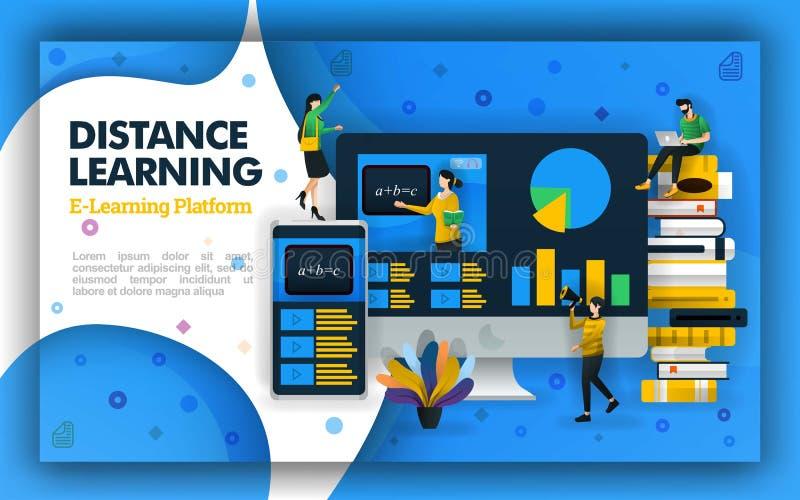 De vector illustratie van de afstandsonderwijstechnologie Internet gebaseerde schoolonderwijs en het leren video's afstandsonderw royalty-vrije illustratie