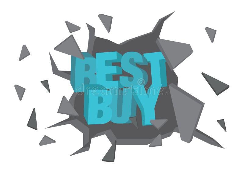 De vector isoleerde illustratie van een typografie 3D fase Best Buy die door de muur breken vector illustratie