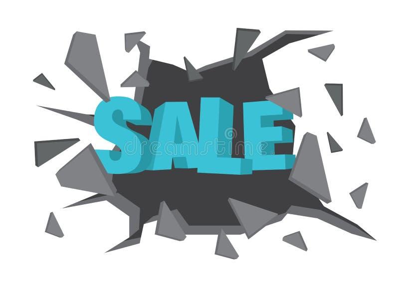De vector isoleerde illustratie van een Verkoop die van de typografie 3D fase door de muur breken stock illustratie