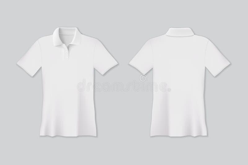 De vector isoleerde witte polot-shirt omhoog voor spot royalty-vrije illustratie