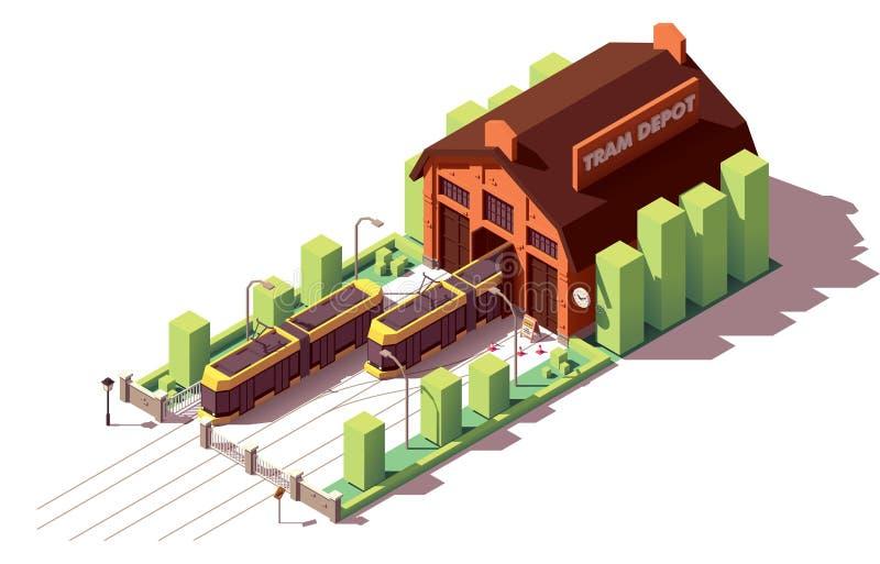 De vector isometrische bouw van het tramdepot stock illustratie