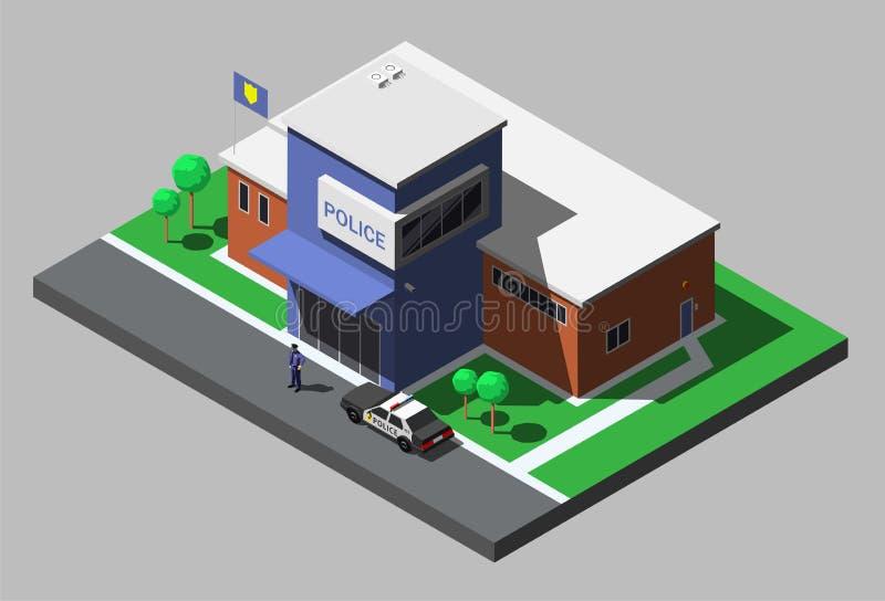 De vector isometrische bouw van politieafdeling met politieagent en politiewagen stock illustratie
