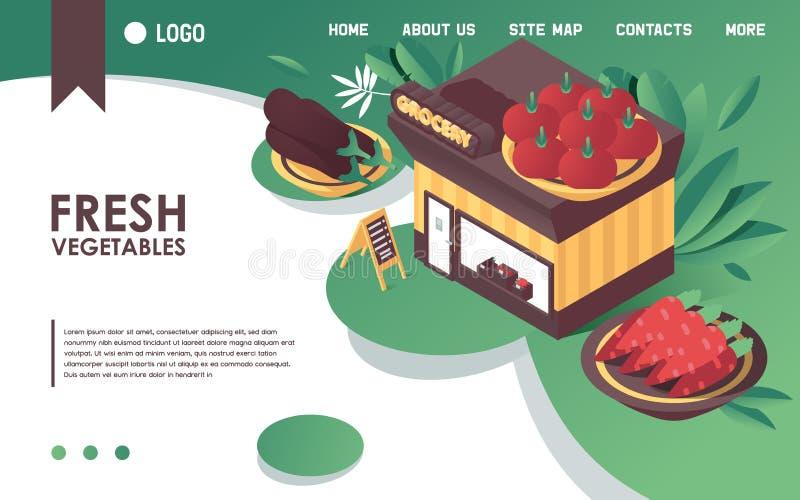 De vector isometrische conceptenbanner of het landingspaginamalplaatje, goed voor verse groenten slaat of de winkel van de landbo royalty-vrije illustratie