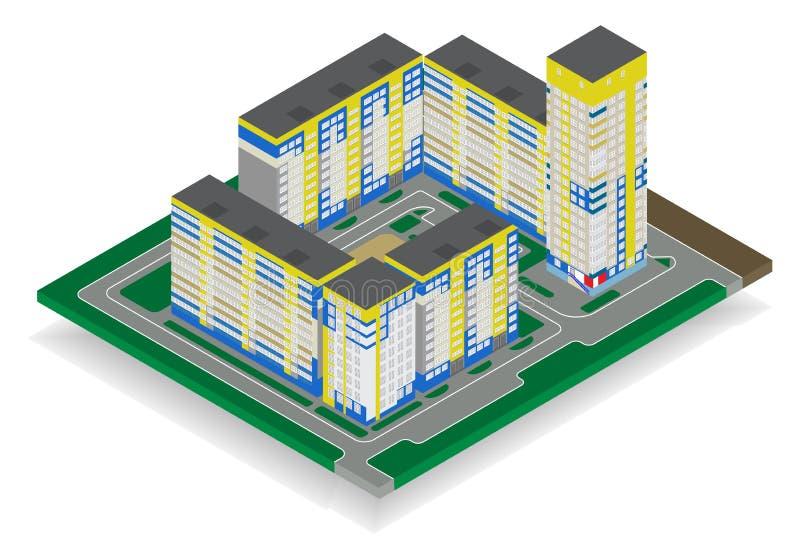 De vector isometrische hoge stijgingsbouw in stedelijke stad royalty-vrije stock afbeelding