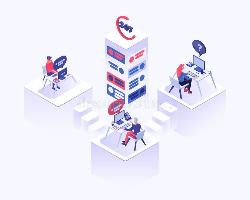 De vector isometrische illustratie van het call centrebureau Mannelijke en vrouwelijke adviseur, cliëntmanagers die 3d cliënten a stock illustratie