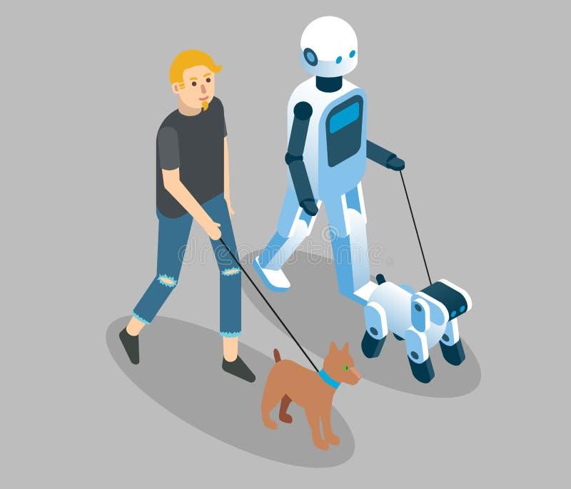 De vector isometrische illustratie van het robotsconcept