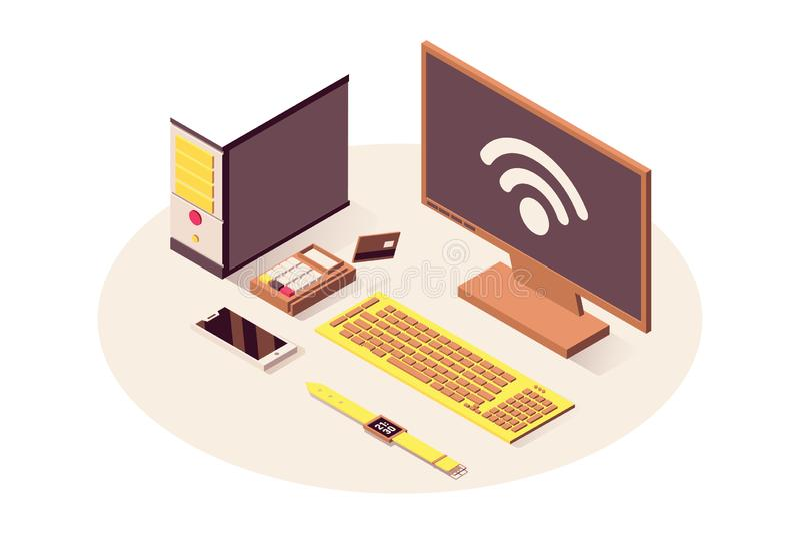De vector isometrische illustratie van de IoTtechnologie De wolken gegevens verwerkende dienst, wifi draadloze verbinding, teleco royalty-vrije illustratie