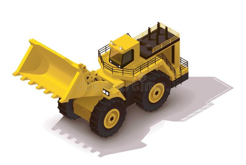 De vector isometrische lader van het mijnbouwwiel stock illustratie