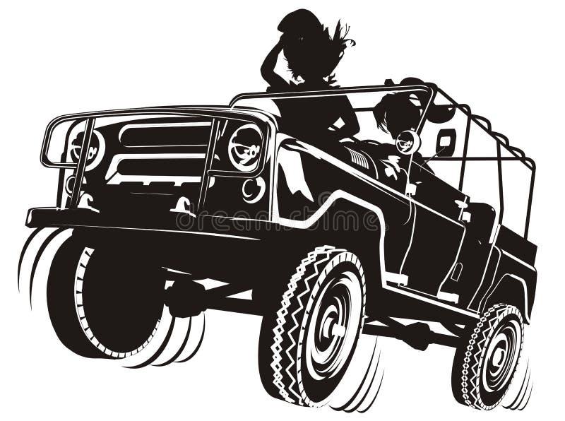 De vector jeep detailleerde silhouet royalty-vrije illustratie