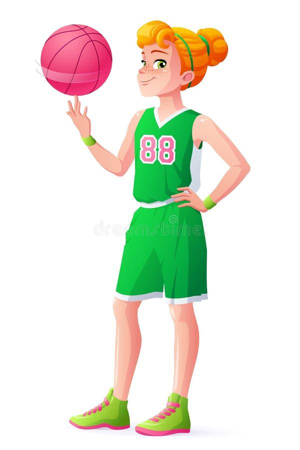 De vector jonge van het de spelermeisje van het roodharigebasketbal spinnende bal op vinger vector illustratie
