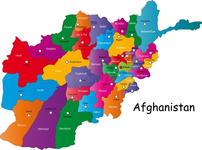 De vector kaart van Afghanistan stock illustratie