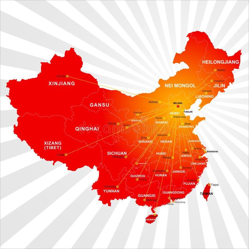 De vector kaart van China stock illustratie