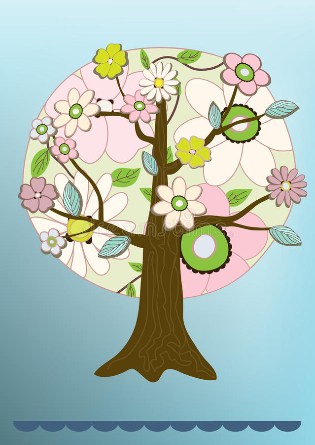 De vector kaart van de bloemboom royalty-vrije illustratie