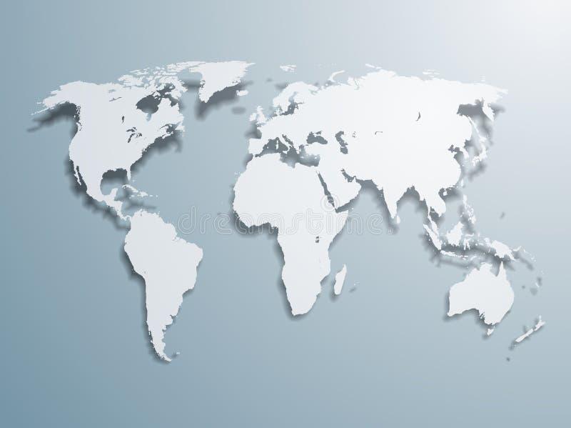 De vector Kaart van de Wereld vector illustratie