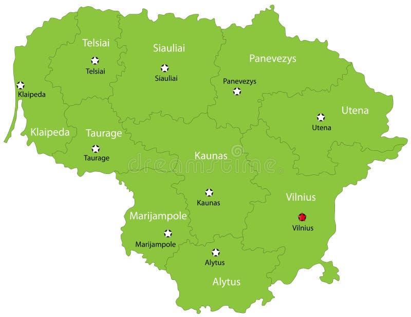 De vector kaart van Litouwen vector illustratie