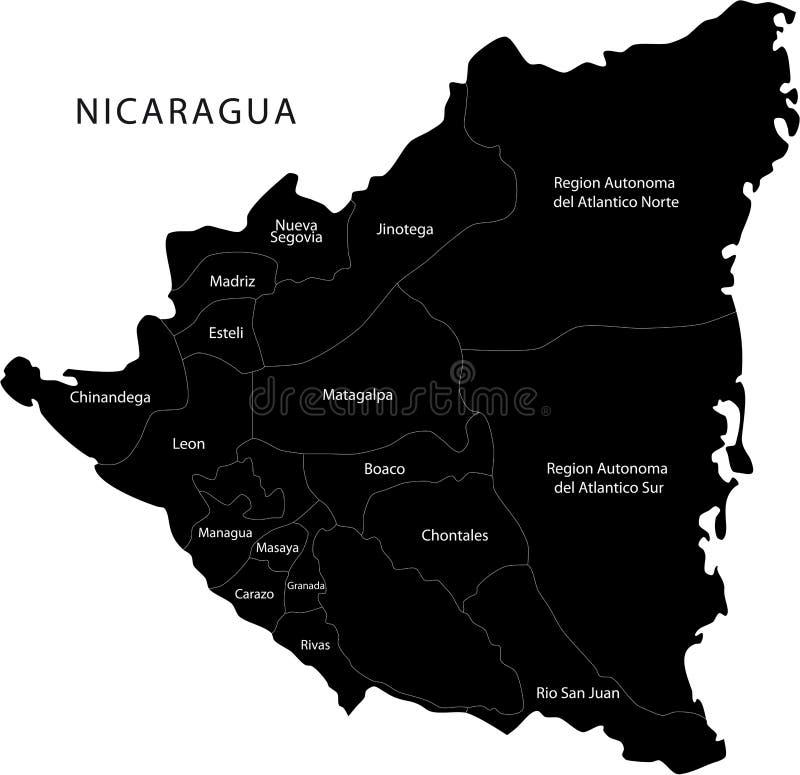 De vector kaart van Nicaragua vector illustratie