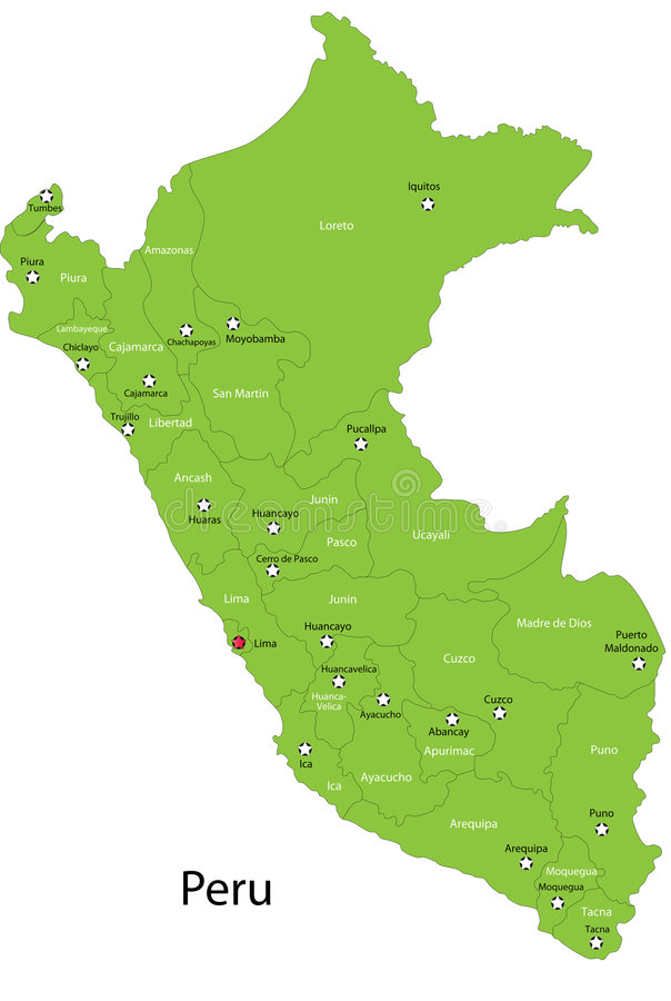 De vector kaart van Peru royalty-vrije illustratie