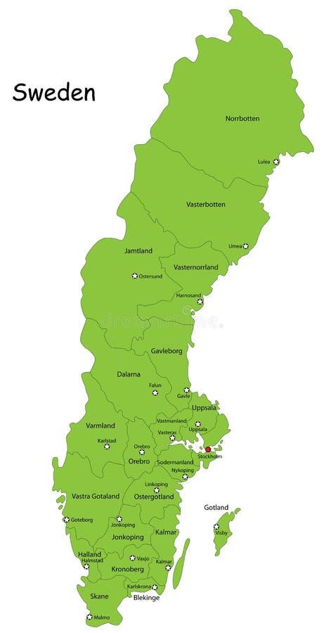 De vector kaart van Zweden royalty-vrije illustratie