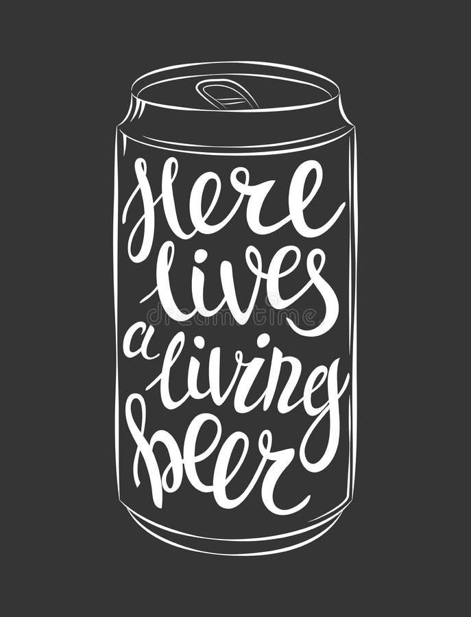 De vector kan van bier het van letters voorzien vector illustratie