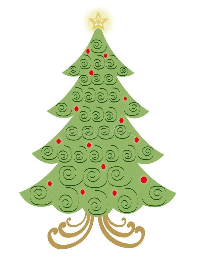 De vector Kerstboom van de Werveling stock illustratie