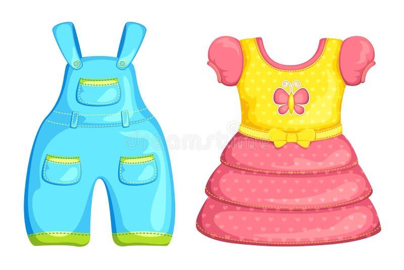 De vector kleding van de Jongen en van het Meisje van de Baby vector illustratie