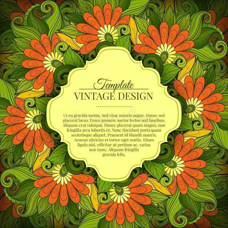 De vector kleurde Bloemenmalplaatje met Plaats voor Tekst royalty-vrije illustratie