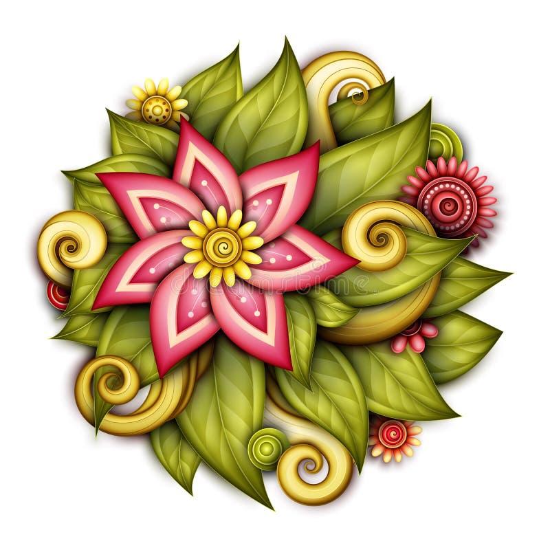De vector kleurde Bloemensamenstelling in Ronde Vorm royalty-vrije illustratie