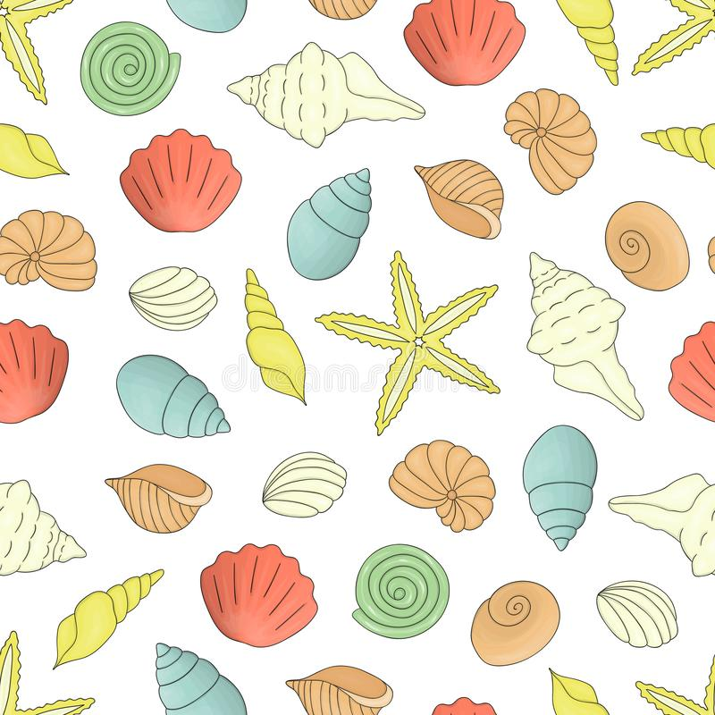De vector kleurde naadloos patroon van overzeese shells stock illustratie
