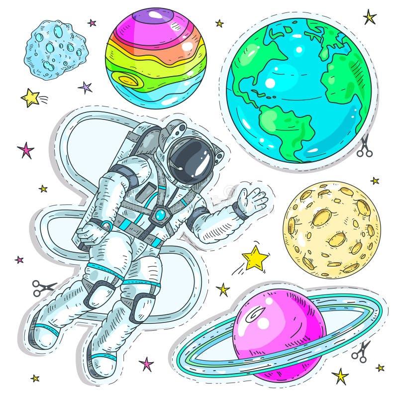 De vector kleurrijke die pictogrammen van de illustratie grappige stijl, de ruimtevaarder van de stickersastronaut vliegt in ruim vector illustratie
