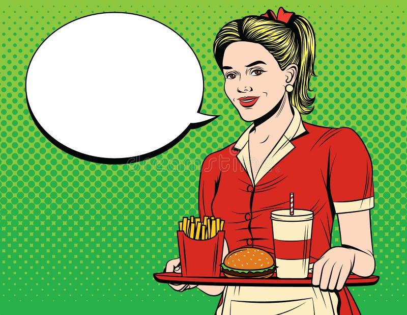 De vector kleurrijke grappige illustratie van de pop-artstijl van een mooie serveerster met een dienblad van snel voedsel stock illustratie