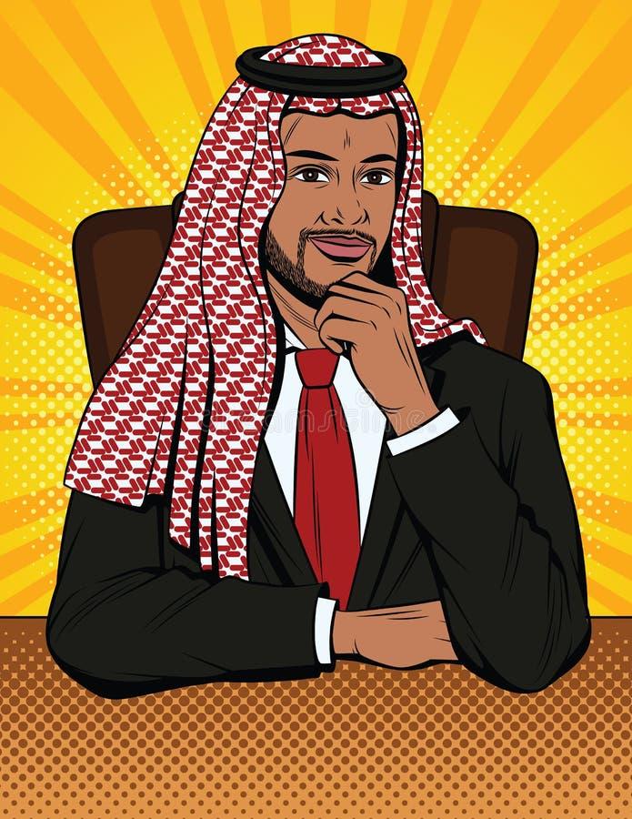 De vector kleurrijke grappige stijlillustratie van een Arabische mens in traditionele kleren zit in een leunstoel achter een bure stock illustratie