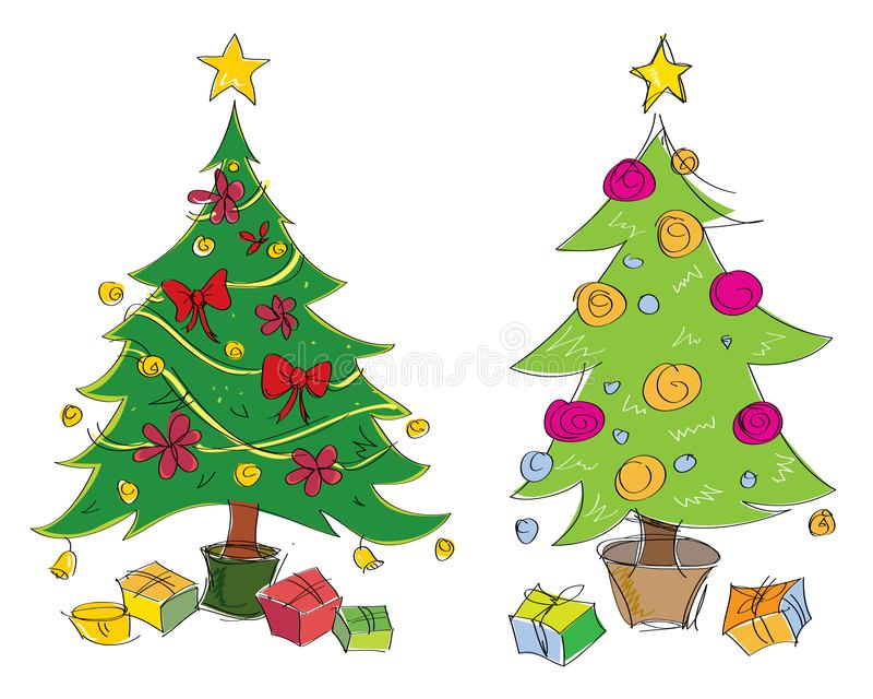 De vector kleurrijke hand getrokken illustratie van Kerstmisbomen Geschikt voor groetkaarten vector illustratie