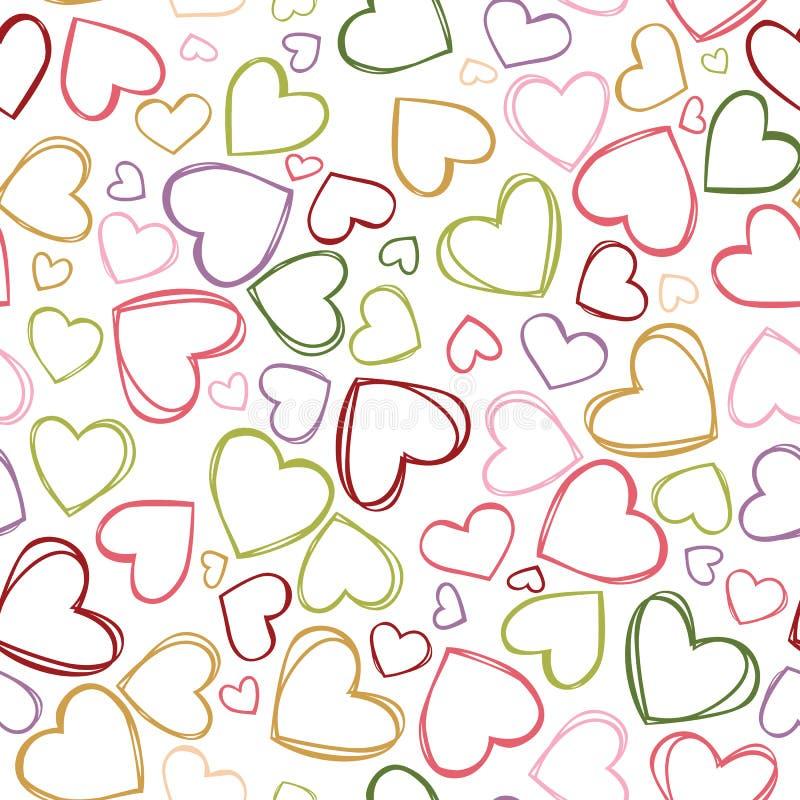 De vector kleurrijke hartoverzichten herhalen patroon Geschikt voor giftomslag, textiel en behang royalty-vrije illustratie