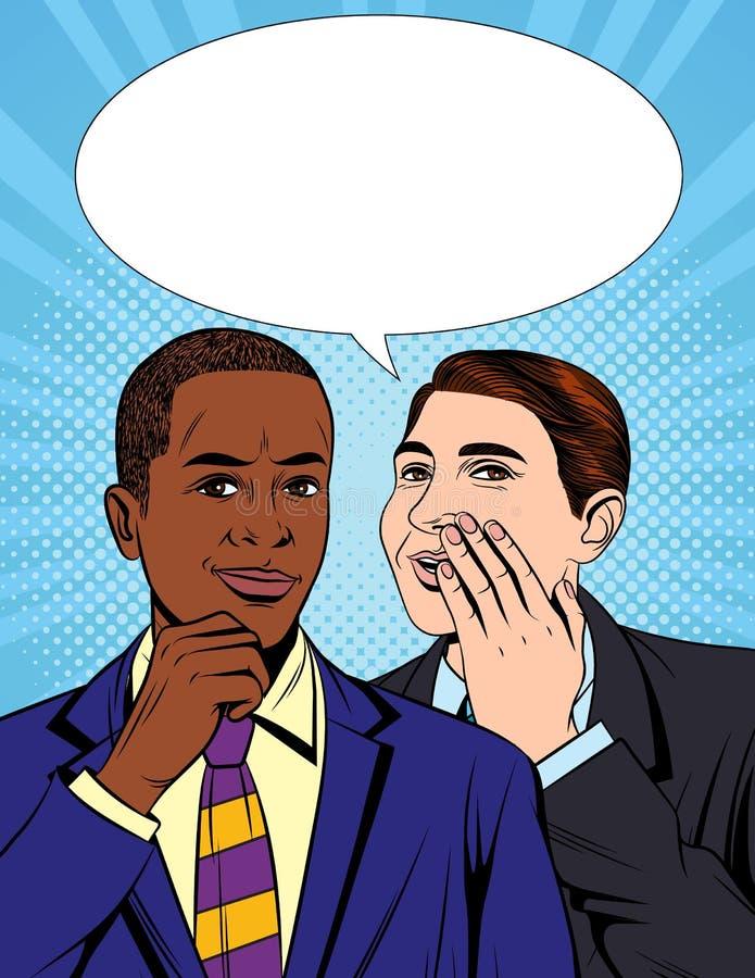De vector kleurrijke illustratie van de pop-art grappige stijl van één zakenman die een geheime informatie vertellen aan zijn col vector illustratie