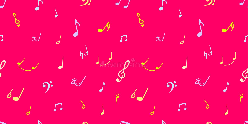 De vector Kleurrijke Muziek neemt nota van Achtergrond, Heldere Roze Kleur, Met de hand geschreven Muzikale Symbolen - Naadloos P vector illustratie