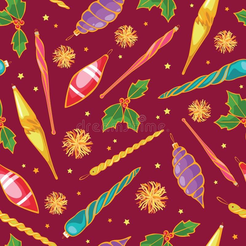 De vector kleurrijke naadloze Kerstboomornamenten herhalen patroonachtergrond Perfectioneer voor de stof van de de wintervakantie vector illustratie