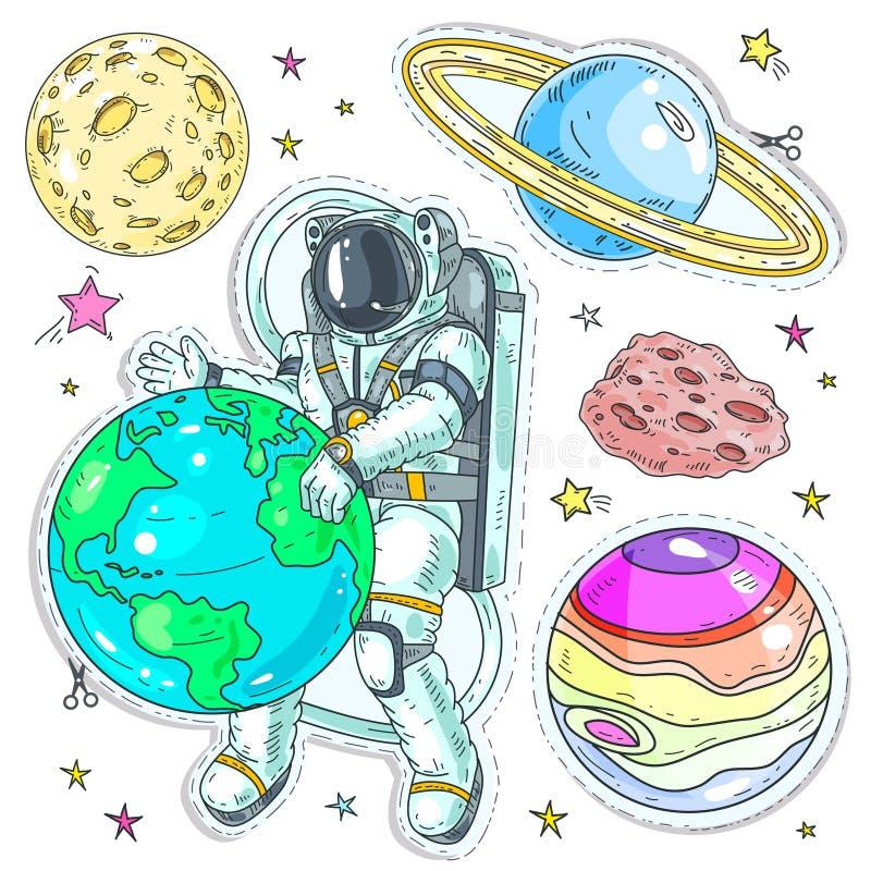 De vector kleurrijke pictogrammen van de illustratie grappige stijl, stickersastronaut aarde koesteren, planeten en asteroïden di stock illustratie