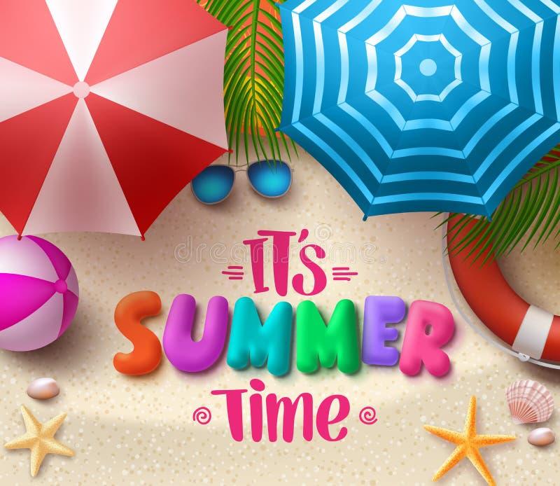 De vector kleurrijke tekst van de de zomertijd in het zand met strandparaplu's royalty-vrije illustratie