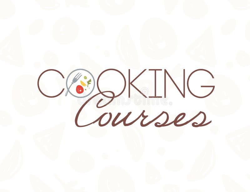 De vector kokende ontwerpsjabloon van het cursussenembleem met plaat, vork, gezond voedsel dat op lichte patroonachtergrond wordt royalty-vrije illustratie