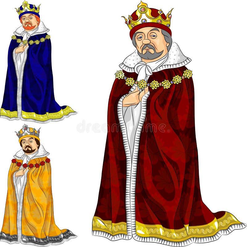 De vector koning van het Beeldverhaal in drie kleuren vector illustratie