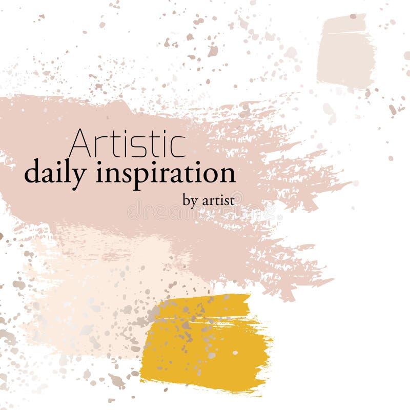 De vector kosmetische reclameelementen met beige kwaststreken, ploeteren decoratie en typografie Yand-getrokken geïnkte penselen stock illustratie