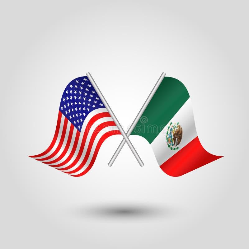 De vector kruiste Amerikaanse en Mexicaanse vlaggen op zilveren stokken - symbool van de Verenigde Staten van Amerika en Mexico royalty-vrije illustratie