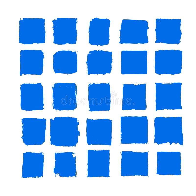 De vector de kwaststreek vastgestelde Hand getrokken grunge decoratieve kwaststreken van de blauwe inktverf ontwerpen elementenin stock illustratie