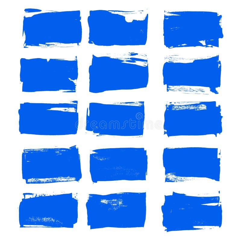 De vector de kwaststreek vastgestelde Hand getrokken grunge decoratieve kwaststreken van de blauwe inktverf ontwerpen elementenin vector illustratie