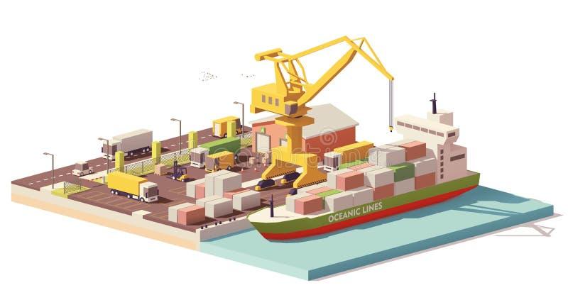 De vector lage polyterminal en het schip van de havencontainer stock illustratie