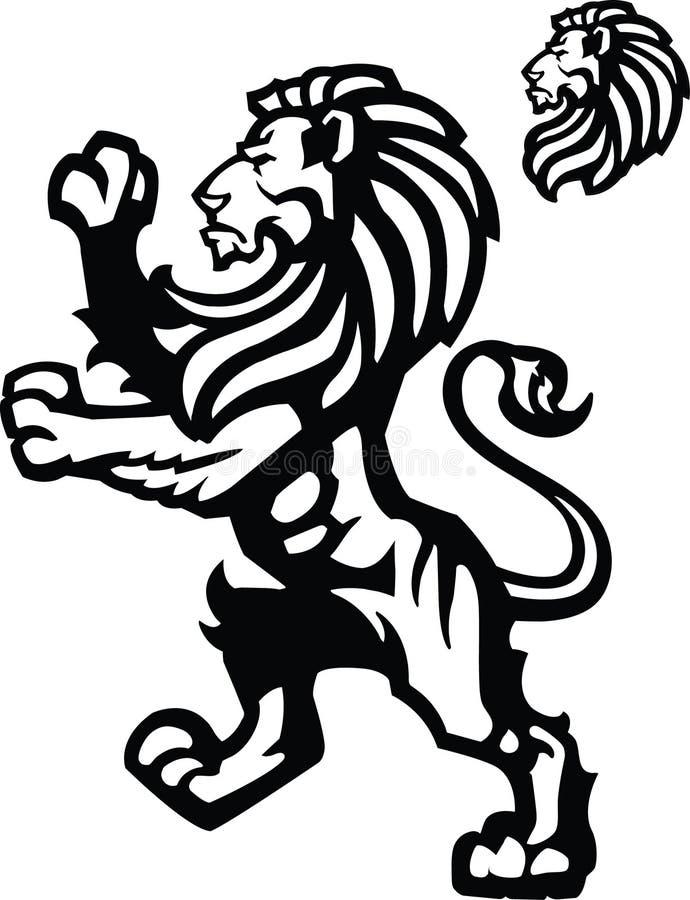 De Ongebreidelde mascotte van de leeuw royalty-vrije illustratie