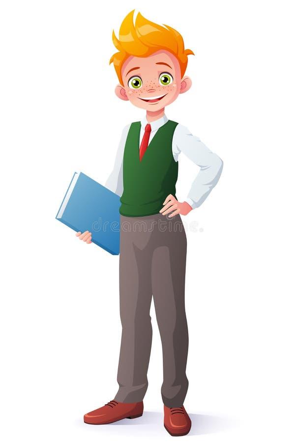 De vector leuke glimlachende jonge jongen van het studentenroodharige in eenvormige school stock illustratie