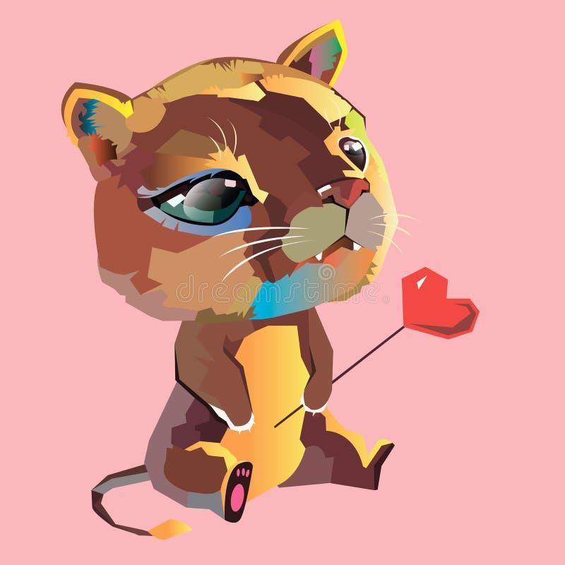 De vector leuke kat van het beeldverhaal dierlijke katje vector illustratie